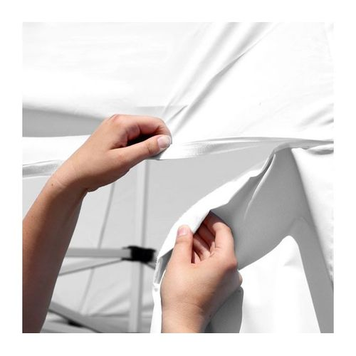 Using hook-and-loop fasteners, the banners easily and securely attach to the tent canopy