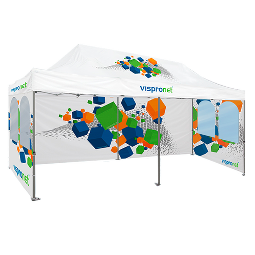 Pop Up Tent Premium with one wall and two walls with round windows