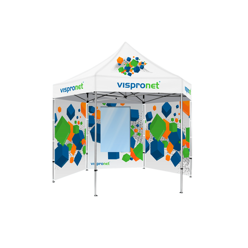 Walls can be added to your pop up advertising tent and can even feature windows and doors