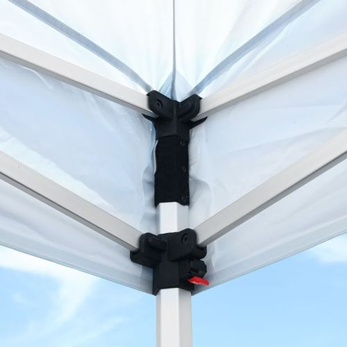 Hook-and-loop fastener allows the valance corners to fit securely and the canopy to be changed out easily