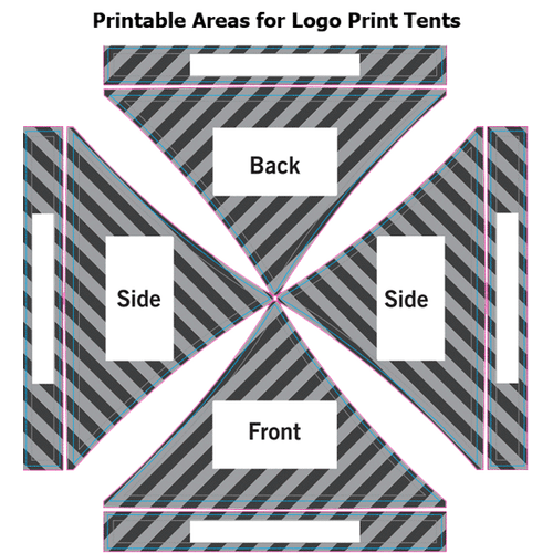 Printable Areas for Logo Print Tents
