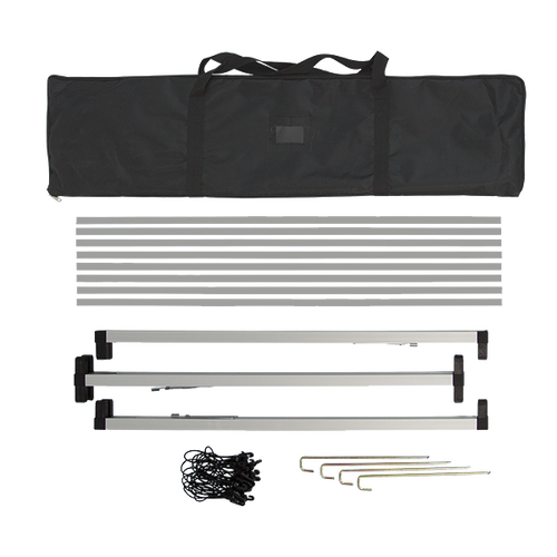 Hardware fits inside included carrying case and includes frame, stakes and black banner bungee cords